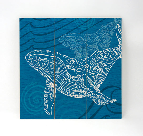 Wall Art Wood Triptychs - Whale One Color