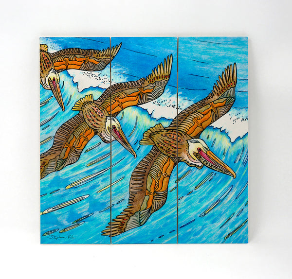 Wall Art Wood Triptychs - Wings Over Waves