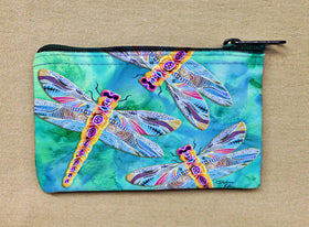 Coin Bag - Yellow Dragonflies