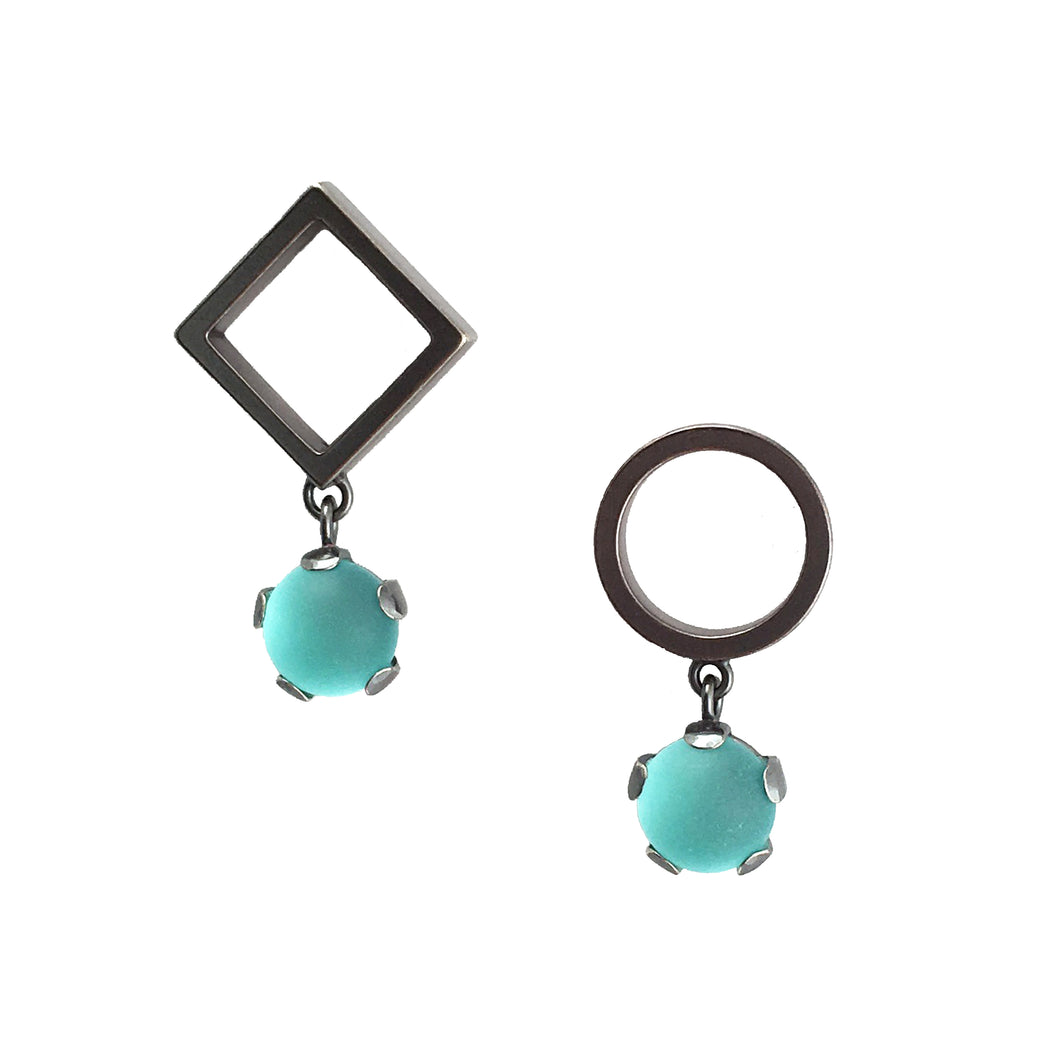 Circle and Diamond Earrings