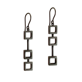 Earrings - Asymmetric Squares in a Row