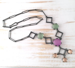 Deco Squares Statement Necklace
