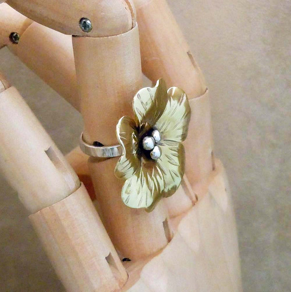 Big Brass Flower Ring