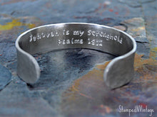 "Load image into Gallery viewer, Baptism Bracelet with Personalized Date and Secret Message; JW Gift; Baptism Gift Custom Made Bangle Bible Quote 5/8"" x 6"" Hand Stamped Cuff"