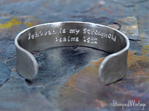 "Baptism Bracelet with Personalized Date and Secret Message; JW Gift; Baptism Gift Custom Made Bangle Bible Quote 5/8"" x 6"" Hand Stamped Cuff"