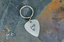 Load image into Gallery viewer, Custom Guitar Pick Keychain, Hand Stamped Initials Silver Anniversary Present, Personalized Romantic Gift for Husband or Wife