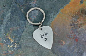 Custom Guitar Pick Keychain, Hand Stamped Initials Silver Anniversary Present, Personalized Romantic Gift for Husband or Wife