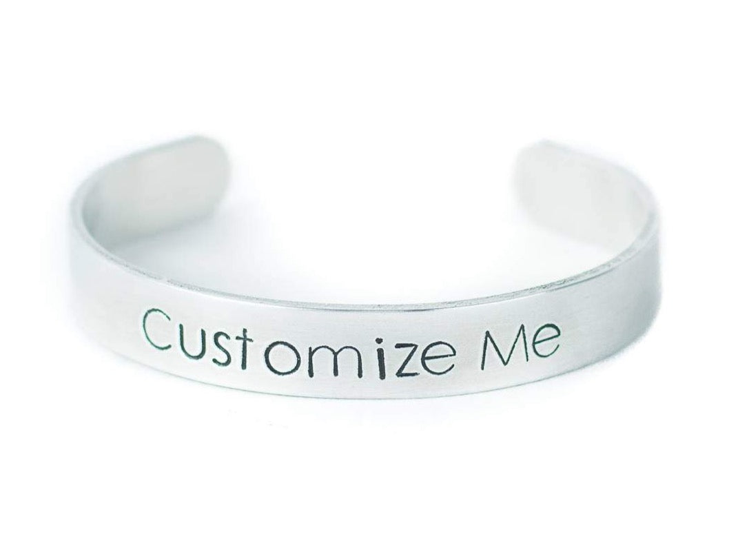 Custom Hand Stamped Silver Bracelet, Personalized Text or Message Cuff, Motivational Quote Jewelry, Unique Mother's Day Gift