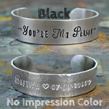 Load image into Gallery viewer, Custom Hand Stamped Silver Bracelet, Personalized Text or Message Cuff, Motivational Quote Jewelry, Unique Mother's Day Gift