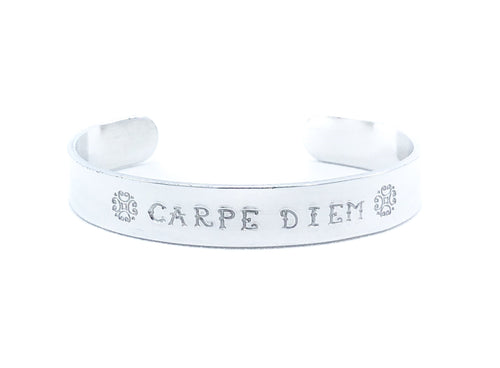 Carpe Diem Bracelet, Personalized Graduation Gift for Her, Silver Bracelet, Seize the Day, Secret Message Cuff, Motivational Quote Jewelry