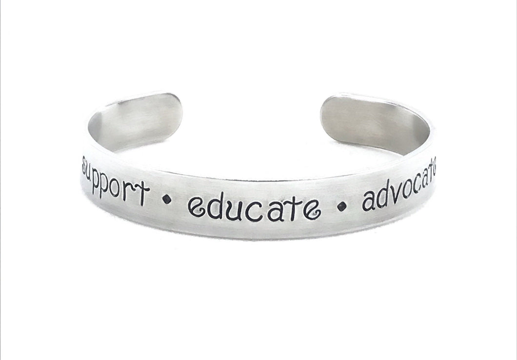 Support Educate Advocate Bracelet for Women, Personalized Text or Secret Message Cuff, Motivational Quote on Skinny Jewelry
