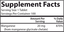 Load image into Gallery viewer, Chelated Manganese 20 mg 100 tabs