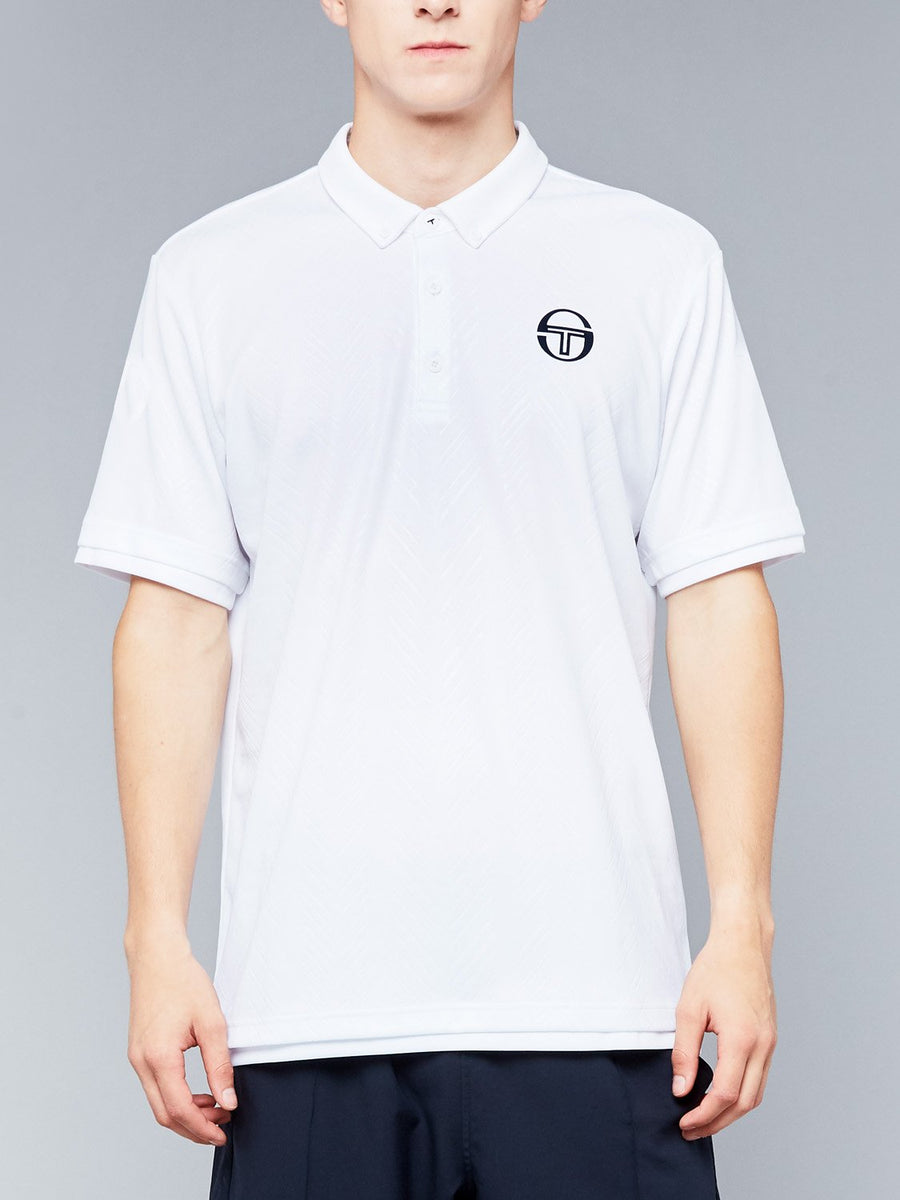 CHEVRON POLO - WHITE/NAVY