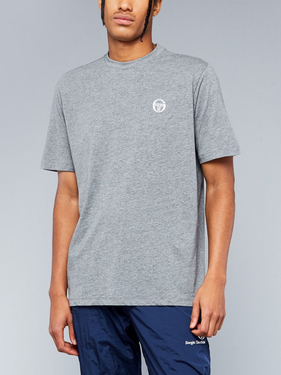 SERGIO SS20 T-SHIRT - DARK GREY MELANGE/WHITE