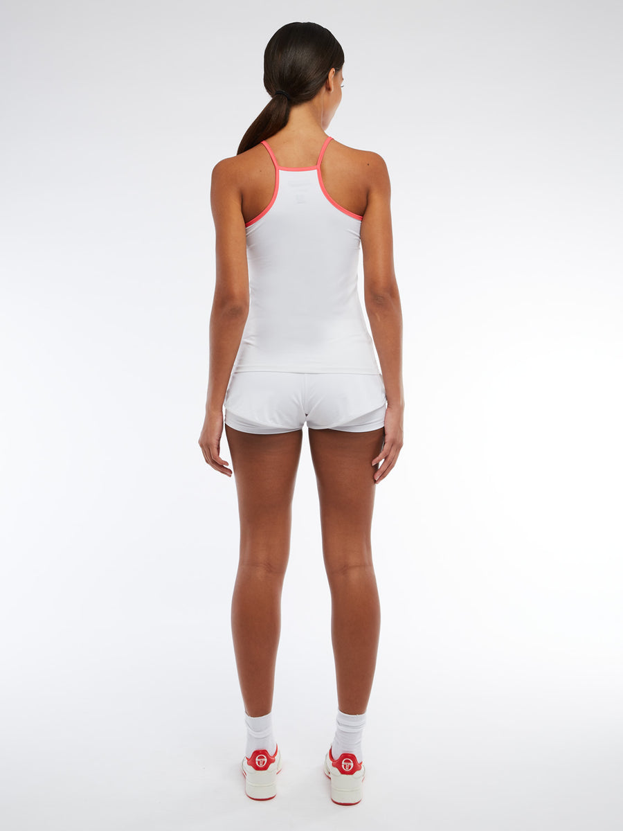 Iris Tank Top - WHITE/ROUGE RED