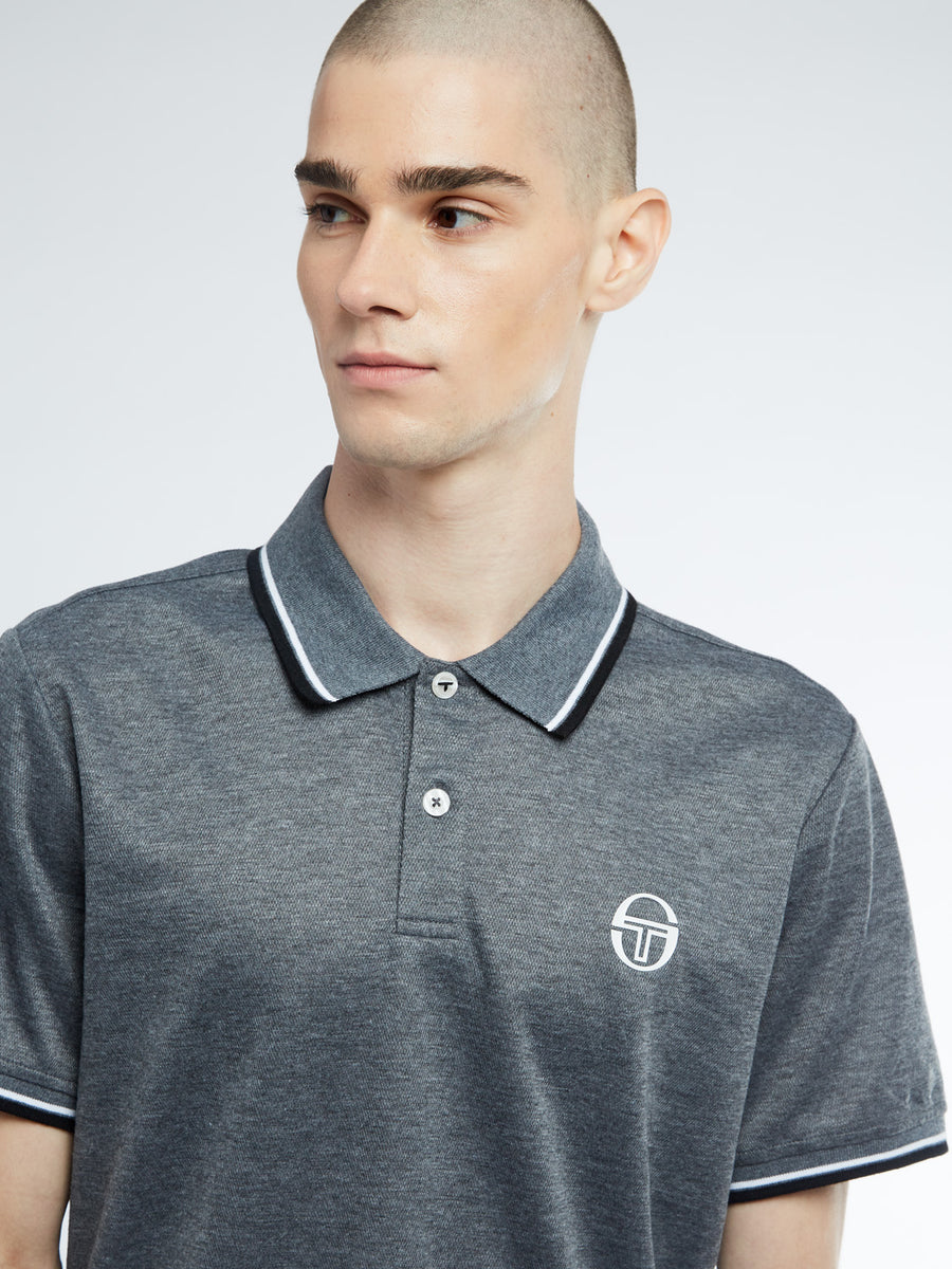 Reed Polo - DARK GREY MELANGE/WHITE/BLACK