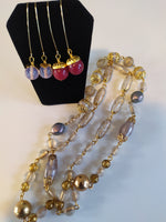 Vintage Lucite & Brass - Necklace & Earring Set