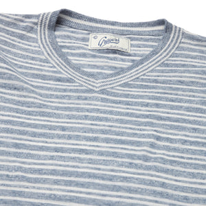 Bedford Stripe V Neck - Denim