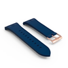 Blue rubber rose gold PVD buckle