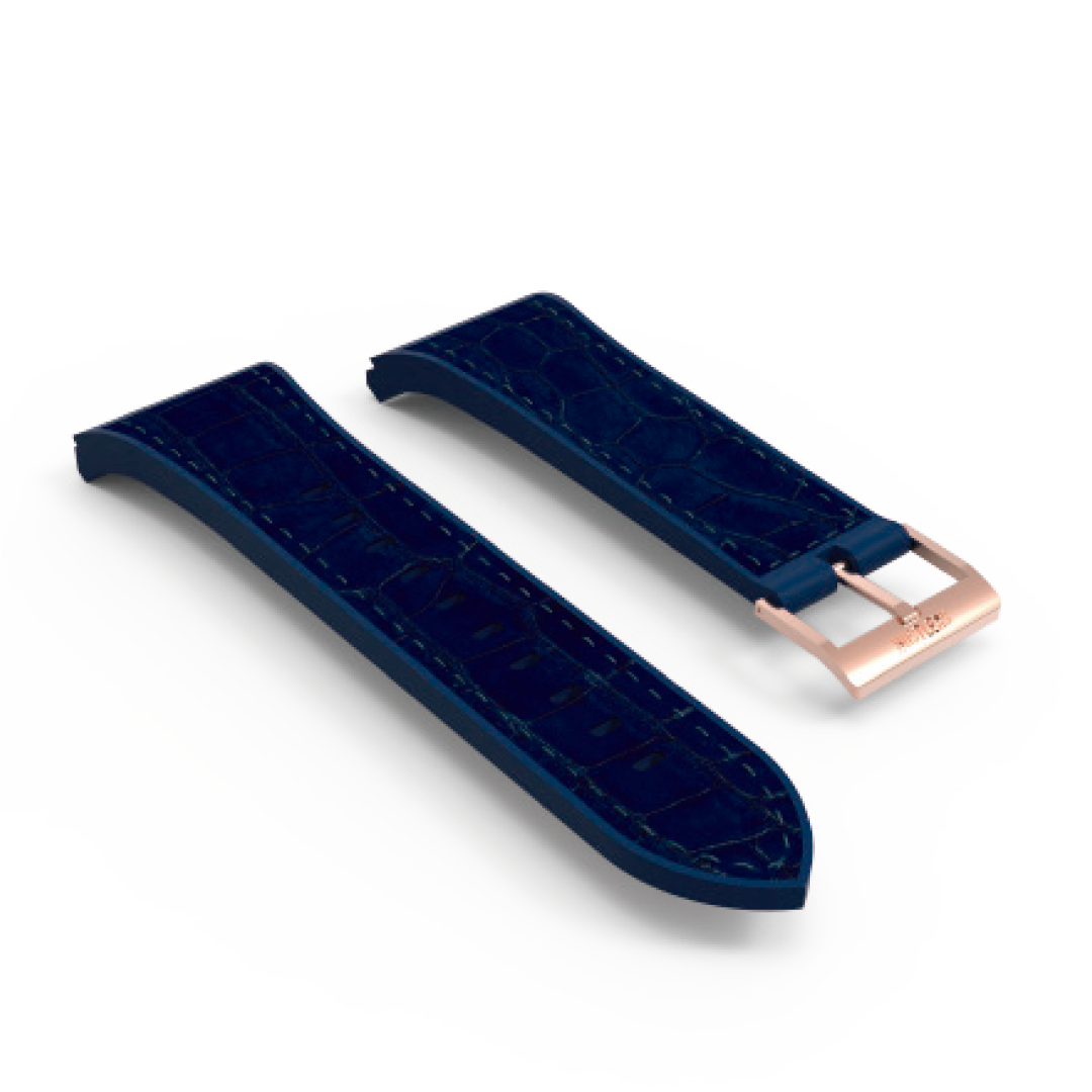 Blue leather & rubber rose gold PVD buckle