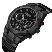 Load image into Gallery viewer, Triple Black Steel - HUSTLERS Co Watches Quartz Movement, Sapphire Crystal, 10ATM water resistance, 3 year international warranty, Sporty, Chronograph and Lifestyle Affordable Timepieces and