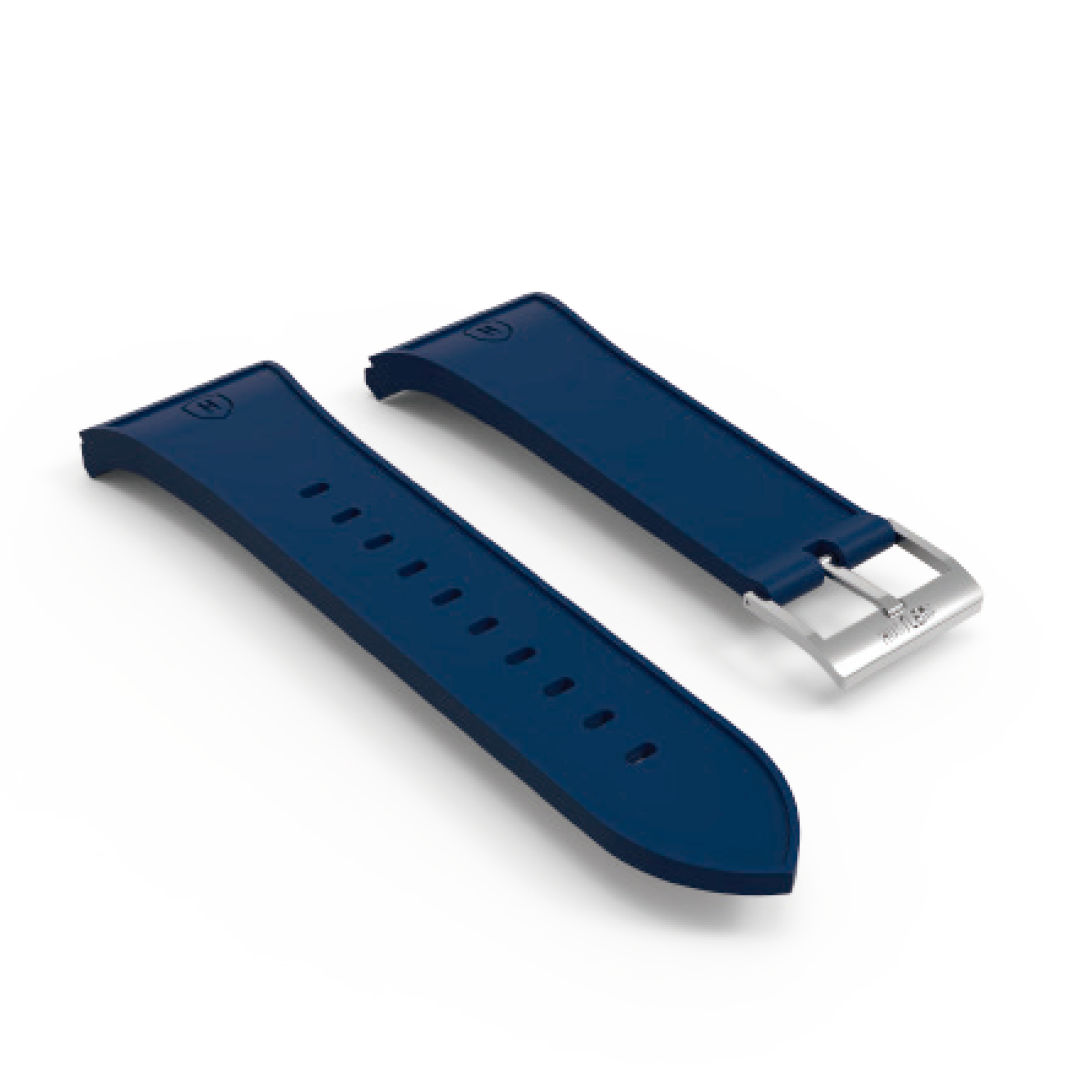 Blue rubber silver buckle