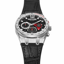 Load image into Gallery viewer, Dark One Leather - HUSTLERS Co Watches Quartz Movement, Sapphire Crystal, 10ATM water resistance, 3 year international warranty, Sporty, Chronograph and Lifestyle Affordable Timepieces and