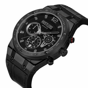 Triple Black Leather - HUSTLERS Co Watches Quartz Movement, Sapphire Crystal, 10ATM water resistance, 3 year international warranty, Sporty, Chronograph and Lifestyle Affordable Timepieces and