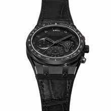 Load image into Gallery viewer, Triple Black Leather - HUSTLERS Co Watches Quartz Movement, Sapphire Crystal, 10ATM water resistance, 3 year international warranty, Sporty, Chronograph and Lifestyle Affordable Timepieces and