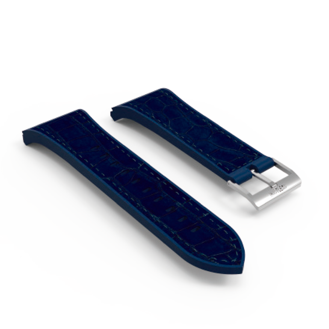 Blue leather & rubber silver buckle