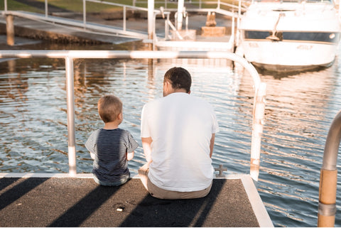 Father Son on deck of water for Father's day