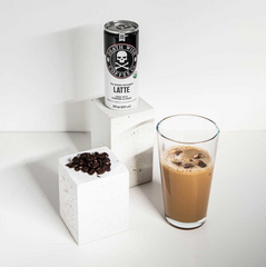 Coffee can, iced coffee, and beans of deathwish coffee
