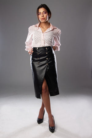 Leather Black Skirt With Buttons