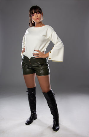 Open sleeves white top with leather short