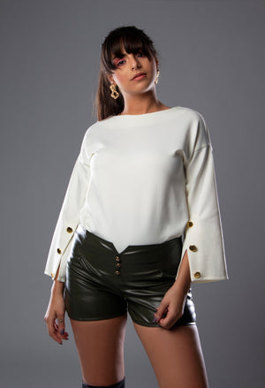 Open sleeves white top
