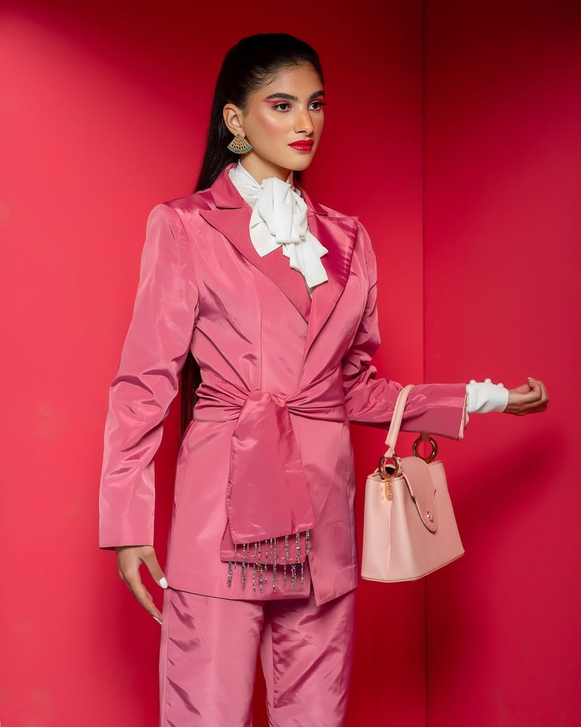 Pink suit with pink bag