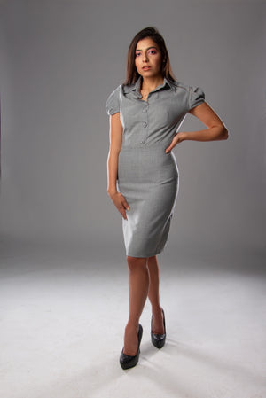 School Girl Grey Wool Dress