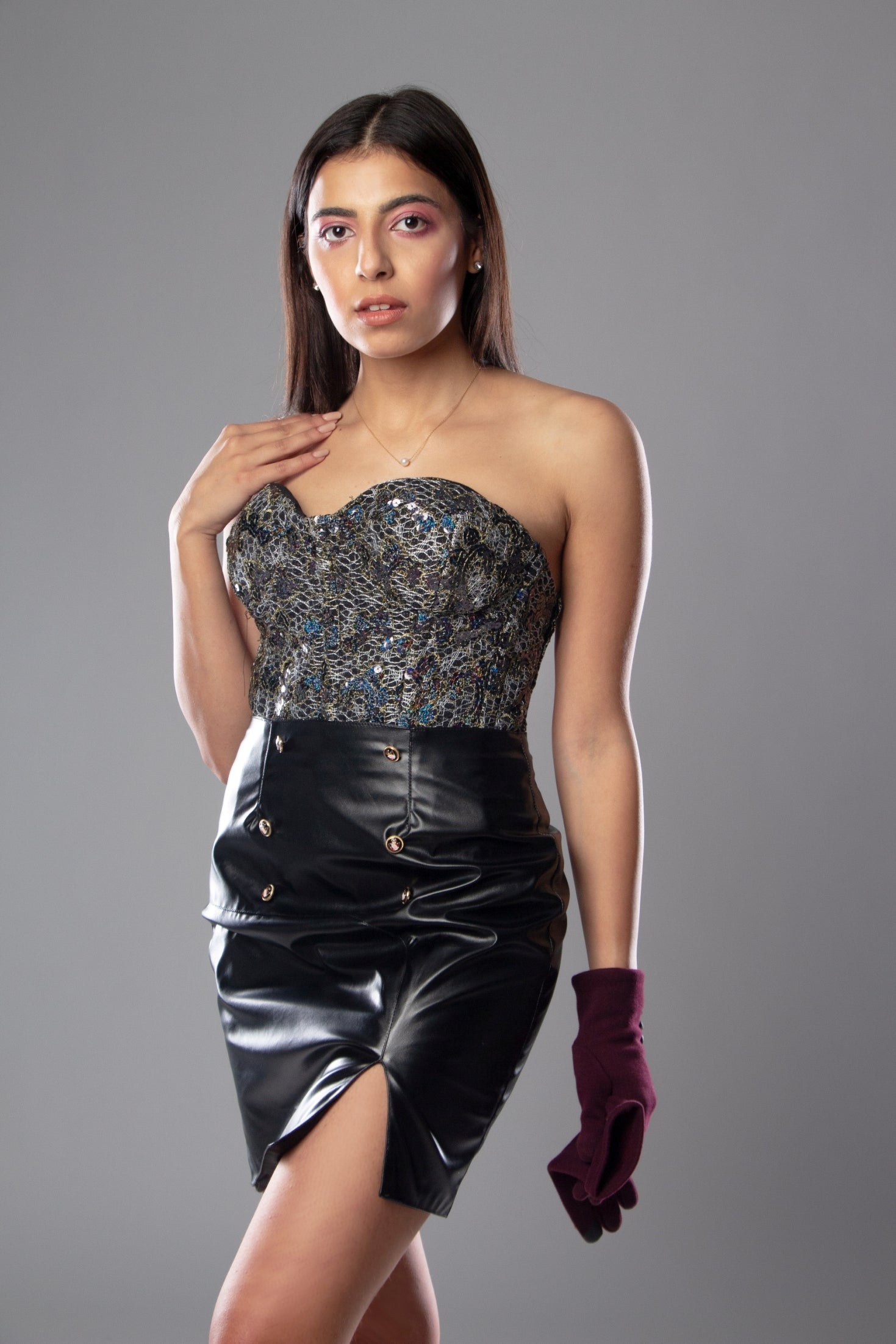 Sparkle corset with leather skirt