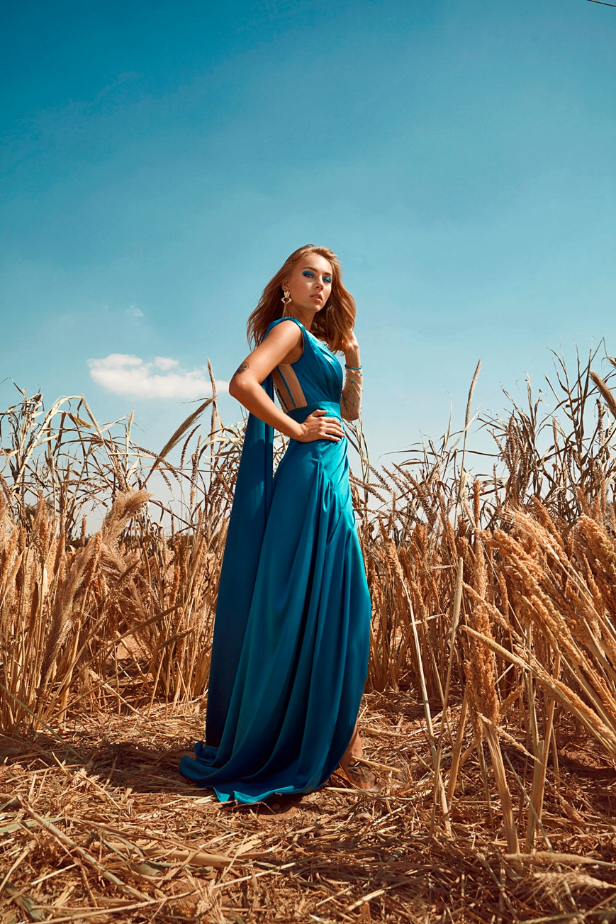 blue glowing evening dress