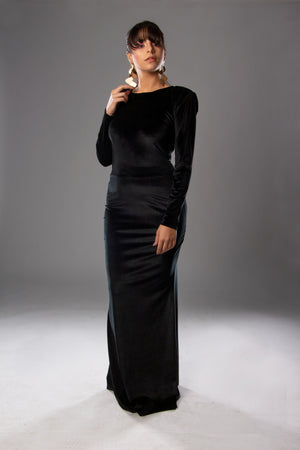 Padded Shoulder Velvet Long Dress