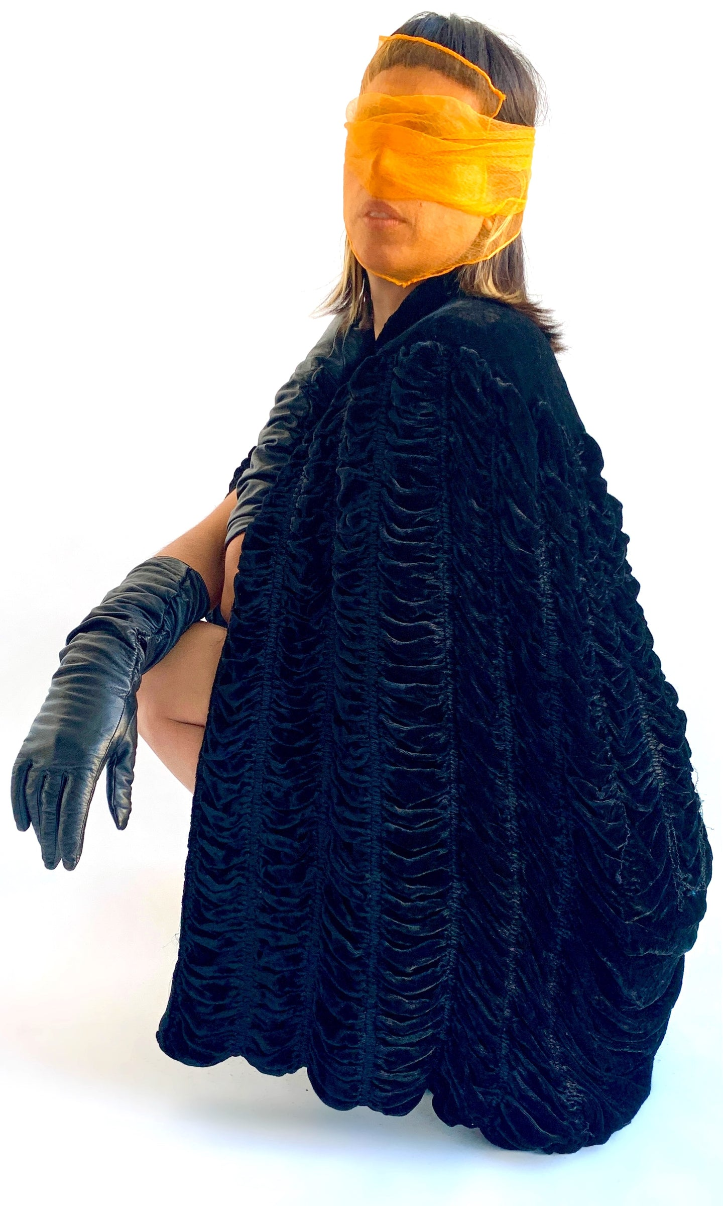 Vintage Goth Ruched Cape
