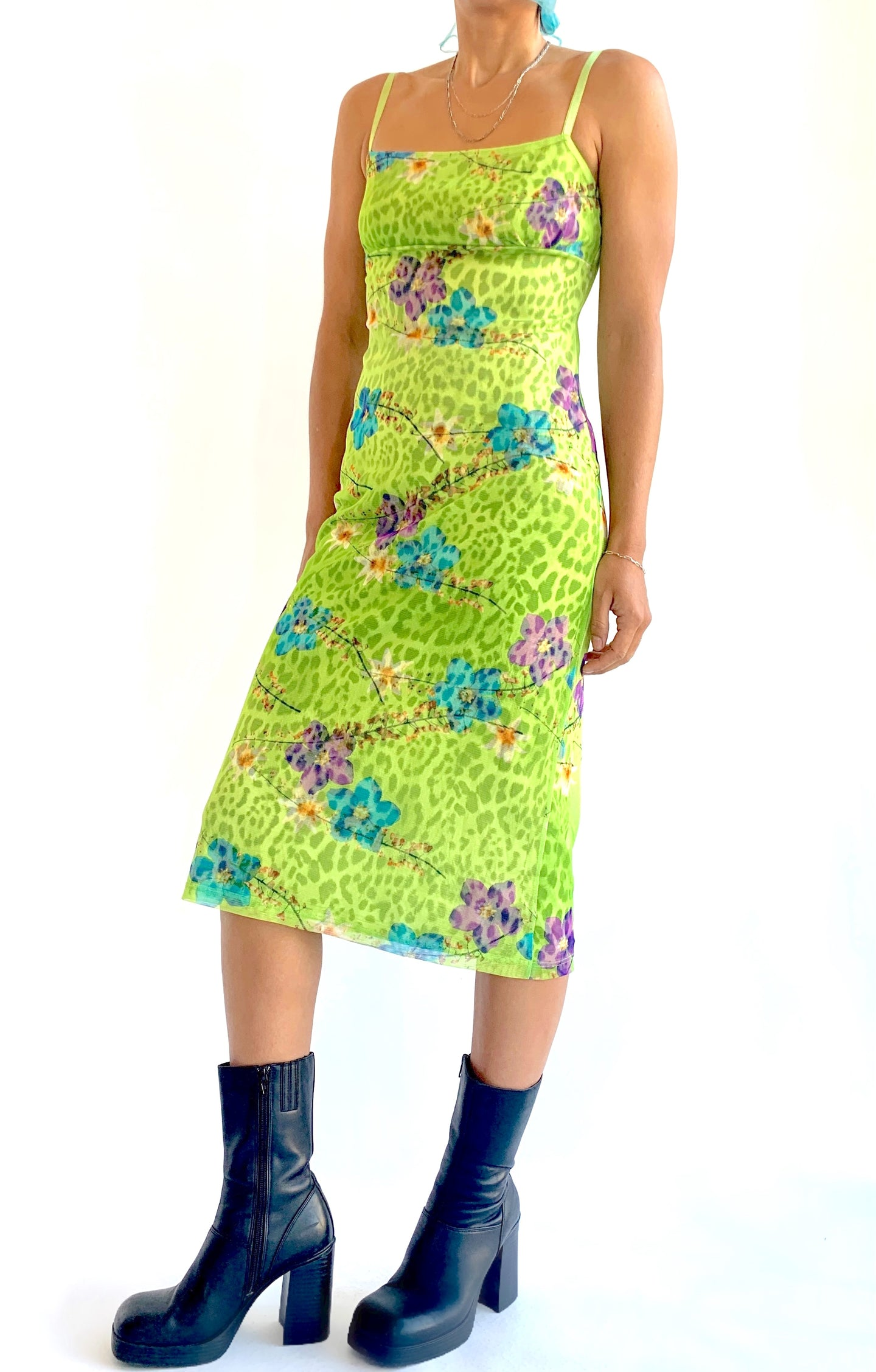 Electric Lime Y2K Mesh Dress