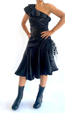 Load image into Gallery viewer, Black 80s Gunne Sax Asymmetrical Dress
