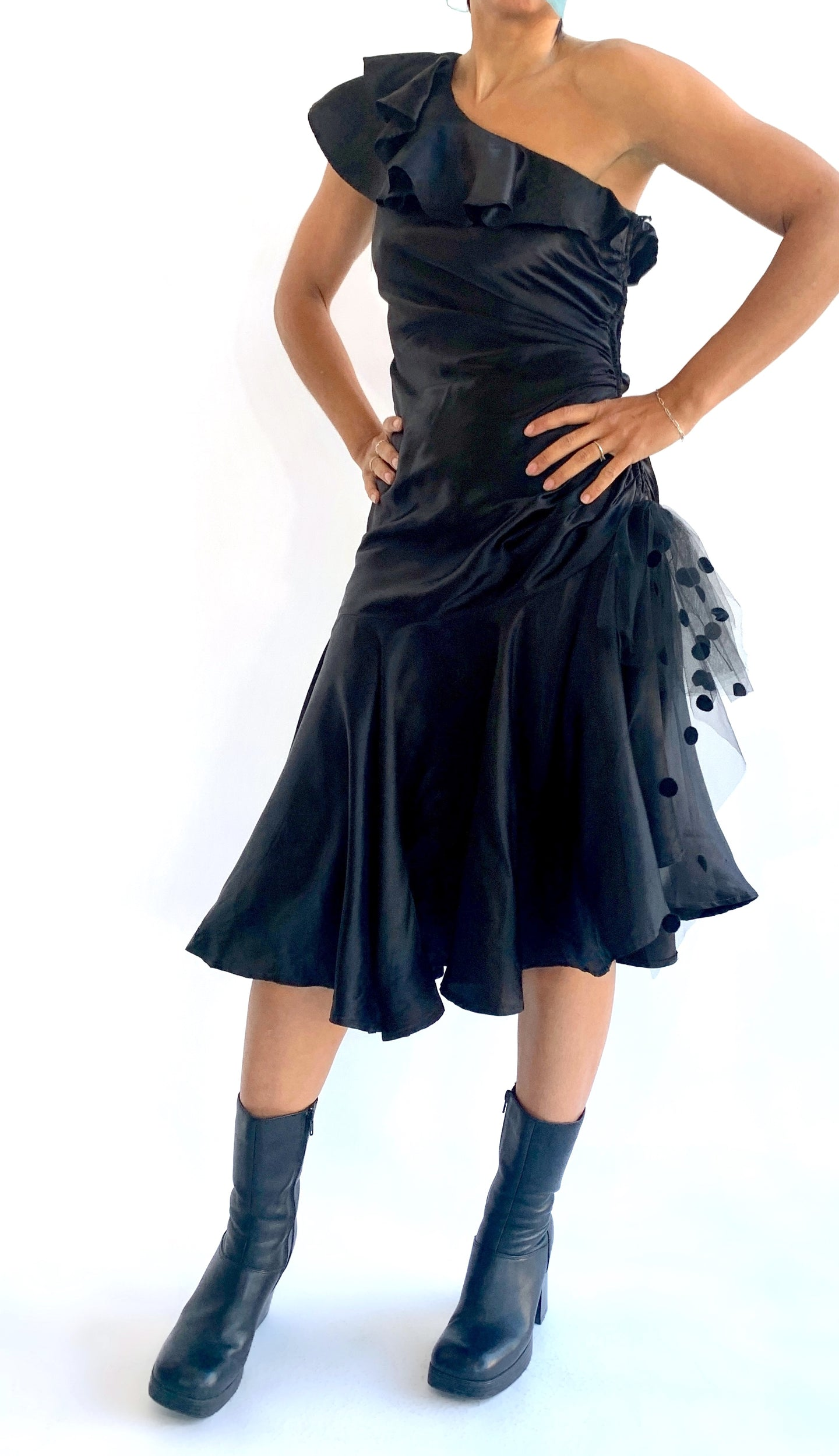 Black 80s Gunne Sax Asymmetrical Dress