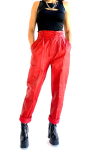 80s Red Leather Pants