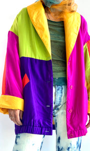 Silk Color Blocked Oversized Jacket