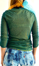 Load image into Gallery viewer, Ruched Green Mesh Double Layered Top