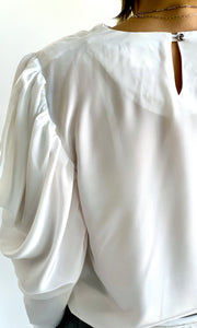 1980s Voluminous Shoulder Draped Blouse
