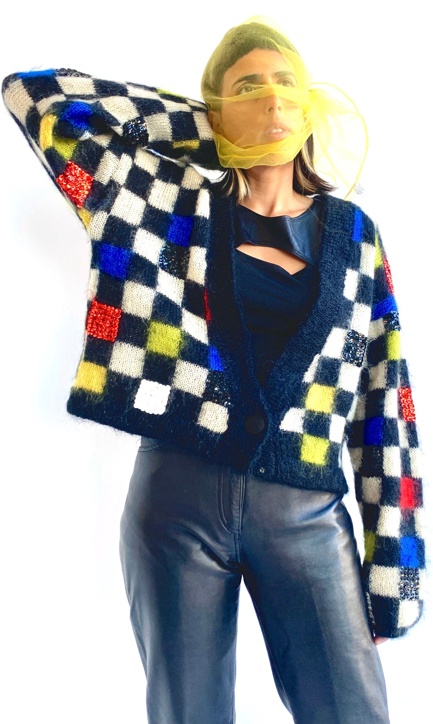 Checkered Mohair Cardigan