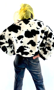 Black & White Faux Fur Cow Print Bomber Jacket
